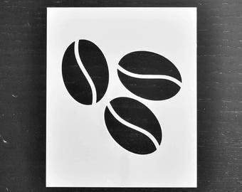 Coffee Bean Stencil - Reusable DIY Craft Stencils of Coffee Beans