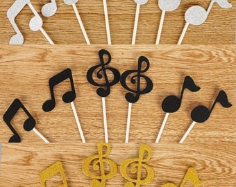 6x Music Notes Cake Toppers, Treble Clef, Eighth Note & Quarter Note Silver/ Black/ Gold Glitter Cupcake Picks Party Décor