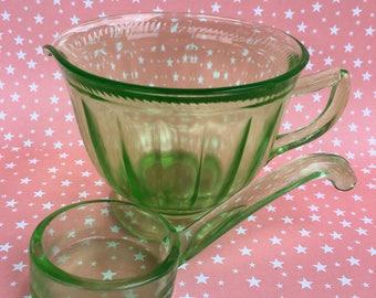 Uranium Glass Creamer and Ladle. Vaseline Glass Pieces. 1930s Green Glass. Retro Kitchen