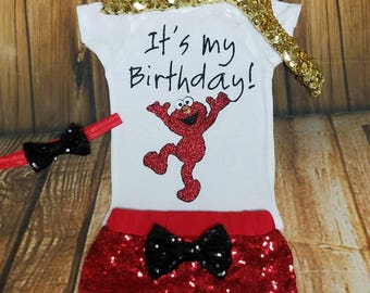 Elmo birthday shirt, Elmo birthday outfit, Elmo shirt, it's my birthday shirt, red and black, red sequin shorts, Elmo party, Elmo outfit