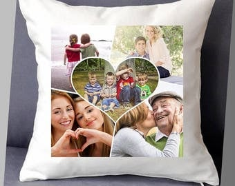 "Personalised photo cushion cover 5 photos with centre heart 16""x16"" (40cmx40cm) gift birthday family"
