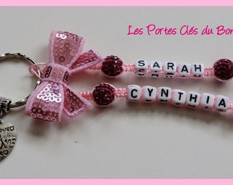 key 2 names in pink and Fuchsia with light pink bow