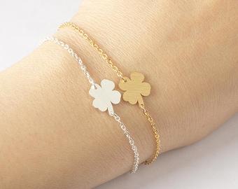 PROMO! Gold plated love bracelet 18K clover leaf nature woman