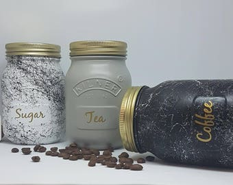 Marble set of 3 - white, black & grey Kilner Jars Tea Coffee Sugar Canister Kitchenwear  House Warming,Wedding Gift