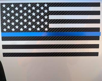 Carbon Fiber American Flag Blue Line