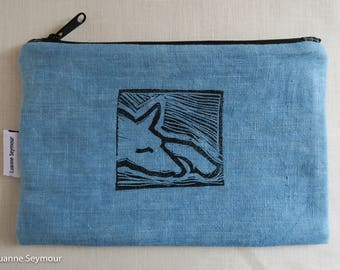 Linen zipper pouch, linen makeup bag, block printed clutch, indigo linen pouch, linen project bag, padded Kindle case