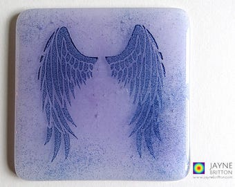 Violet purple Angel wings coaster, blue and white, fused glass, home decor, interior design details, angelic gift, Archangel Zadkiel