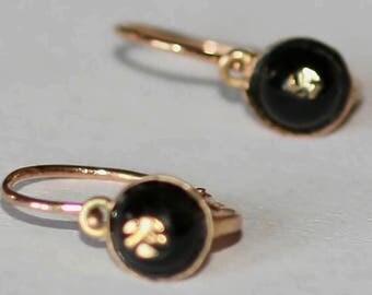 Victorian Onyx Rose Gold 'Little Black Earrings' / Free Shipping Worldwide