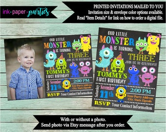 Monsters Monster Chalkboard Birthday Party Invitations Invites With our Without Photo Personalized Custom