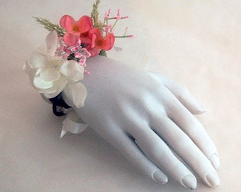 Pink and white flower wrist corsage for ceremony, wedding, prom. Adjustable accessory. Women, bride, bridesmaid or bachlorette party