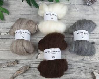 Merino Sampler Pack - natural spinning fibres, mini-rovings for spinning, undyed merino – 3,53oz