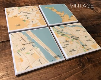 Custom Map Coasters - Pick Your Locations (7 Style Options) - Resin Coated
