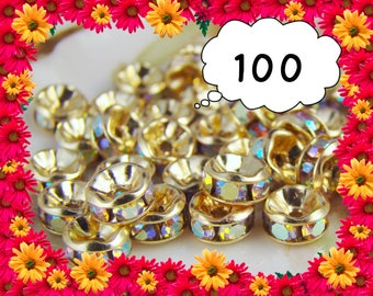 100ct. 2mm-10mm AB Swarovski Rhinestone Spacer Beads, Gold Rondelle Rhinestone Spacer
