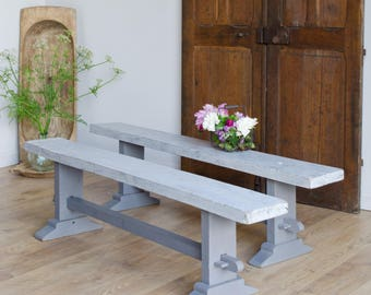 Lovely Pair of Vintage French Oak Benches in Original Grey Paint