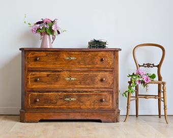 Vintage Georgian-Style Mahogany Inlaid Chest of Drawers