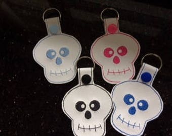 Skull Key-Ring, Bag Charm. Hand Made Machine Embroidered, Faux Leather