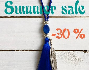 SUMMER SALE / / / Blue Mood necklace / / / tassel and silver feather