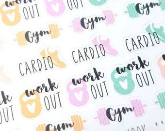 SALE! Work out planner stickers - Erin Condren - Happy Planner - gym - cardio - weights - Christmas Gift
