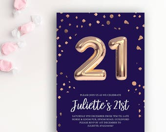 21st Birthday Printable Rose Gold Balloon Invitation & Navy