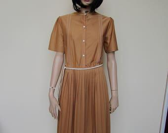 Brown vintage day dress by Keynote - size 16/18