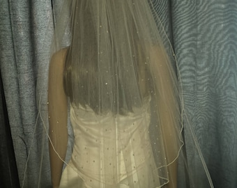 "Wedding veil Chapel length 2 tiers 30""/ 90"" scattered with Swarovski crystals in White, Ivory or Light Ivory. FREE UK POSTAGE"