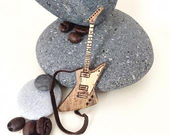 """Gift for music lover, Music instrument 3"""" easter gift for musician, Music gift for him, Guitar decor, Music art, Gibson Explorer Guitar art"""