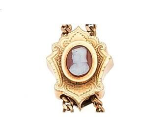 """Estate 14k Yellow Gold Slide Charm Genuine Hardstone Cameo Solid 7/8"""" wide 3.1g Embossed Victorian 14kt 14 k kt Vintage Carved Face Bracelet"""