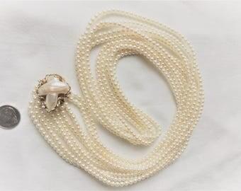 "Estate 14K Gold Custom Akoya Pearl 5-Strand Torsade Necklace Genuine Diamond Marked 14KT 14 K Kt Biwa Clasp Pendant 34"" long 96.4g Statement"