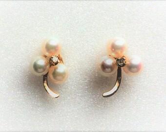 Estate 14k Yellow Gold Genuine Pearl and Diamond Pierced Earrings 1.2g Lucky 3-Leaf Clover Marked 14 K kt 14kt Vintage Post Stud Earring