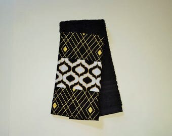 CLEARANCE Towel-Black White and Gold-Bathroom Towels-Decorative Towels-Black and Gold Towels-Hand Towels-Clearance Sale-Quatrefoil Towels