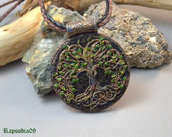Celtic pendant Tree of Life jewelry Polymer clay jewelry necklace Copper pendant Etnic style pendant for woman