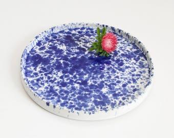 blue & white dessert plate, splatter, medium, handmade, ceramic, pottery, stoneware, wheel thrown, glazed