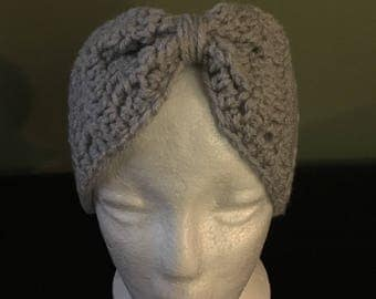 Adult grey headband handmade crochet.