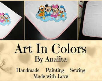 Baby GIRL - Hand Painted Baby Mouth Cloth/Diaper