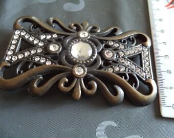 belt buckle in antique bronze metal and rhinestone width from 4 cm