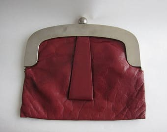 Vintage 70's the luggage Burgundy leather pouch
