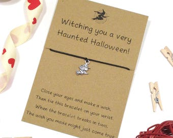 witching you a haunted halloween,  witch wish bracelet, friendship bracelet, witch charm, trick or treat gift favors, halloween jewellery