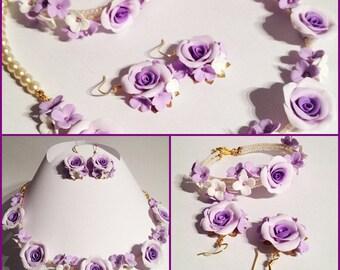 Romantic floral earrings Bracelet Necklace Collier