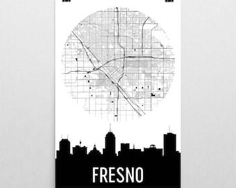 Fresno Skyline, Fresno Map, Fresno Skyline Art, Fresno Canvas Art, Fresno City Map, Fresno CA, Fresno California, Fresno Poster, Fresno
