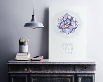 Collectibles watercolor Minimal printable art Watercolor home Succulent watercolor Minimal grey print Lilac and grey decor Grow your love