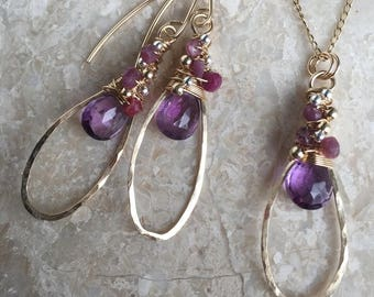 Natural Amethyst and Genuine Ruby 14k Goldfill Necklace and Earring Gift Set