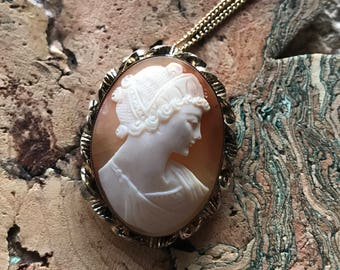 Detailed carved shell cameo