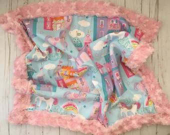 Minky Baby Blanket, Toddler Blanket, Unicorn Blanket, Princess Blanket, Baby Girl Blanket
