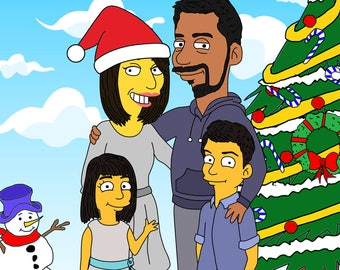 Custom Christmas, Christmas Caricature, Christmas Drawing, Christmas Portrait, Christmas Illustration, Custom Portrait, The Simpsons