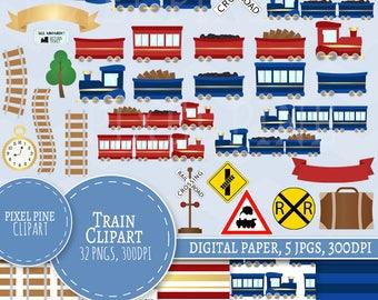 Train Clipart Set, 32 PNGs, 5 Train Digital Paper JPGs, Commercial Use, Train clip art, Train set clip art, train track clipart, trains png