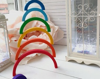 Waldorf Rainbow Stacker | Stacking Rainbow Toy | Educational Toy | Wooden Toddler Toy | Waldorf Toy | Waldorf Wooden Puzzle | Wood Puzzle