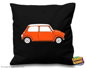 Mini Cooper Orange Pillow Cushion Cover - Classic Mini Car