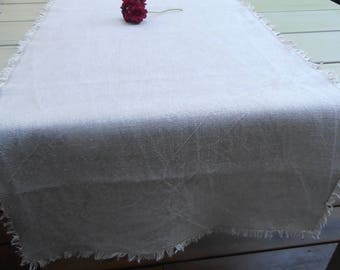 Fringed and washed natural linen TABLE runner