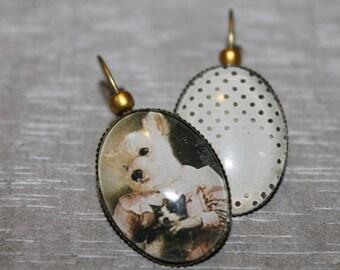 Old puppy / Stud Earrings in metal