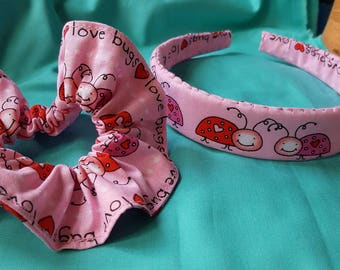 Hand sewn cute Love Bug headband and scrunchie set